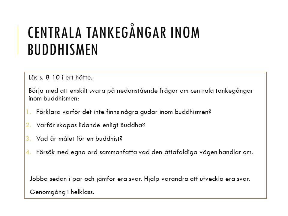 CENTRALA TANKEGÅNGAR INOM BUDDHISMEN Läs s. 8-10 i ert häfte.