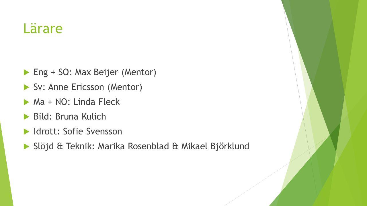 Lärare  Eng + SO: Max Beijer (Mentor)  Sv: Anne Ericsson (Mentor)  Ma + NO: Linda Fleck  Bild: Bruna Kulich  Idrott: Sofie Svensson  Slöjd & Teknik: Marika Rosenblad & Mikael Björklund