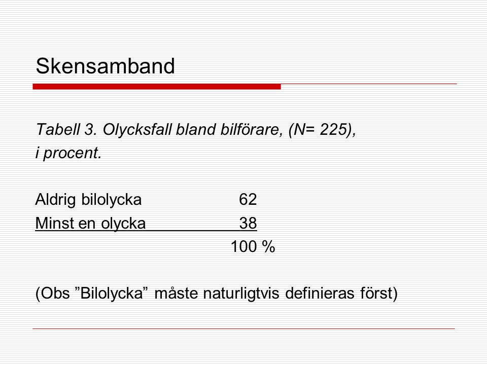 Forts.skensamband Tabell 4.