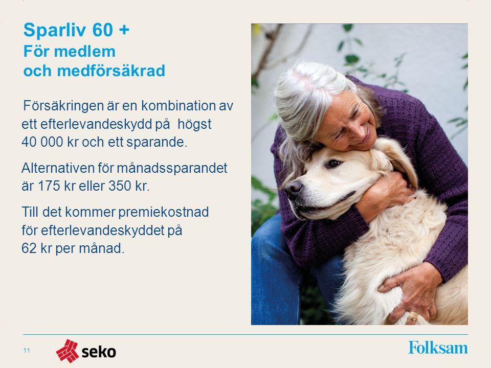 Innehållsyta Rubrikyta Sparliv 60 + För medlem och medförsäkrad Försäkringen är en kombination av ett efterlevandeskydd på högst 40 000 kr och ett spa