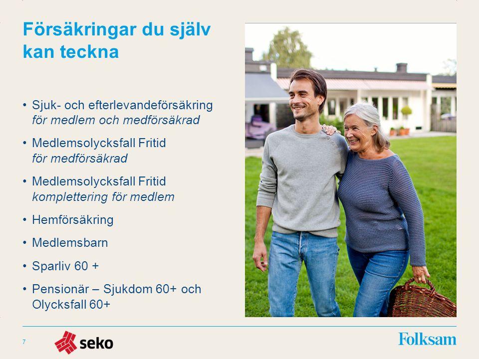 Innehållsyta Rubrikyta Försäkringar du själv kan teckna Sjuk- och efterlevandeförsäkring för medlem och medförsäkrad Medlemsolycksfall Fritid för medförsäkrad Medlemsolycksfall Fritid komplettering för medlem Hemförsäkring Medlemsbarn Sparliv 60 + Pensionär – Sjukdom 60+ och Olycksfall 60+ 7