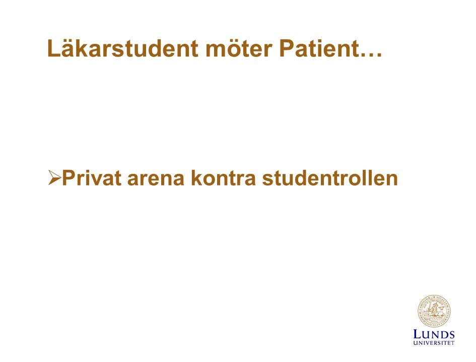 Läkarstudent möter Patient…  Privat arena kontra studentrollen