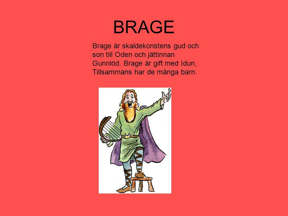 BRAGE Brage är skaldekonstens gud och son till Oden och jättinnan Gunnlöd. Brage är gift med Idun, Tillsammans har de många barn.