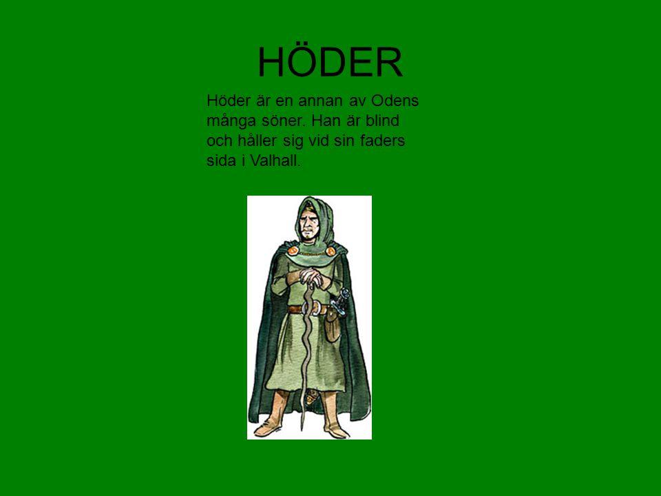 HÖDER Höder är en annan av Odens många söner. Han är blind och håller sig vid sin faders sida i Valhall.