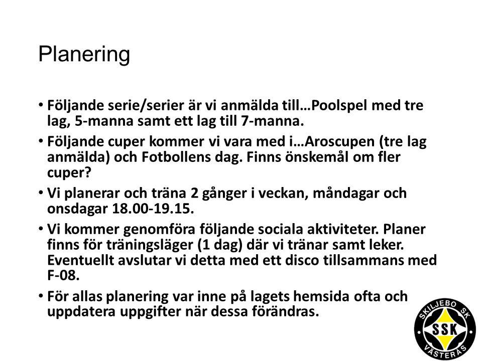 Planering Följande serie/serier är vi anmälda till…Poolspel med tre lag, 5-manna samt ett lag till 7-manna.