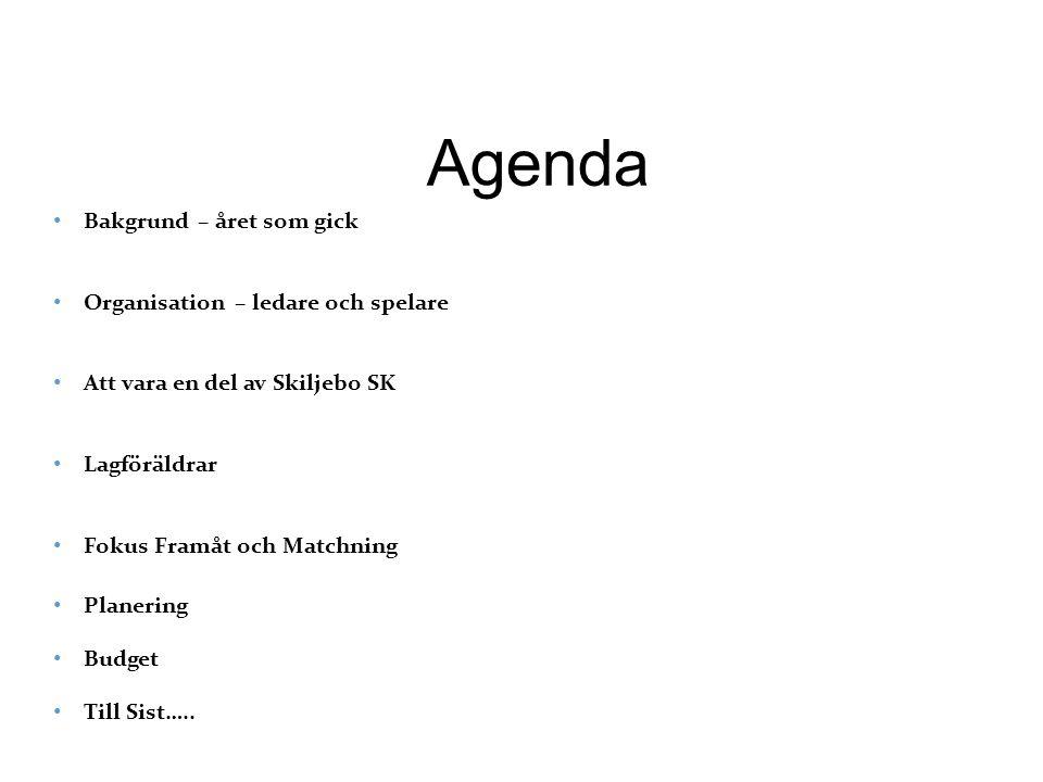 Agenda Bakgrund – året som gick Organisation – ledare och spelare Att vara en del av Skiljebo SK Lagföräldrar Fokus Framåt och Matchning Planering Budget Till Sist…..