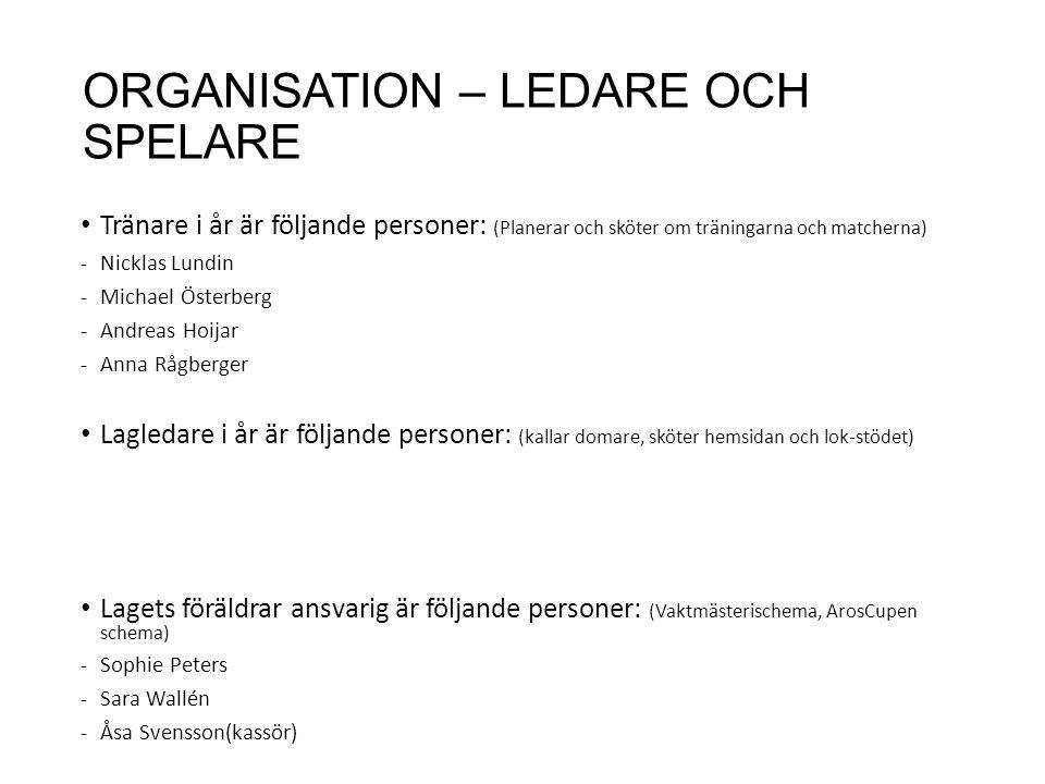 ORGANISATION – LEDARE OCH SPELARE Tränare i år är följande personer: (Planerar och sköter om träningarna och matcherna) -Nicklas Lundin -Michael Österberg -Andreas Hoijar -Anna Rågberger Lagledare i år är följande personer: (kallar domare, sköter hemsidan och lok-stödet) Lagets föräldrar ansvarig är följande personer: (Vaktmästerischema, ArosCupen schema) -Sophie Peters -Sara Wallén -Åsa Svensson(kassör)