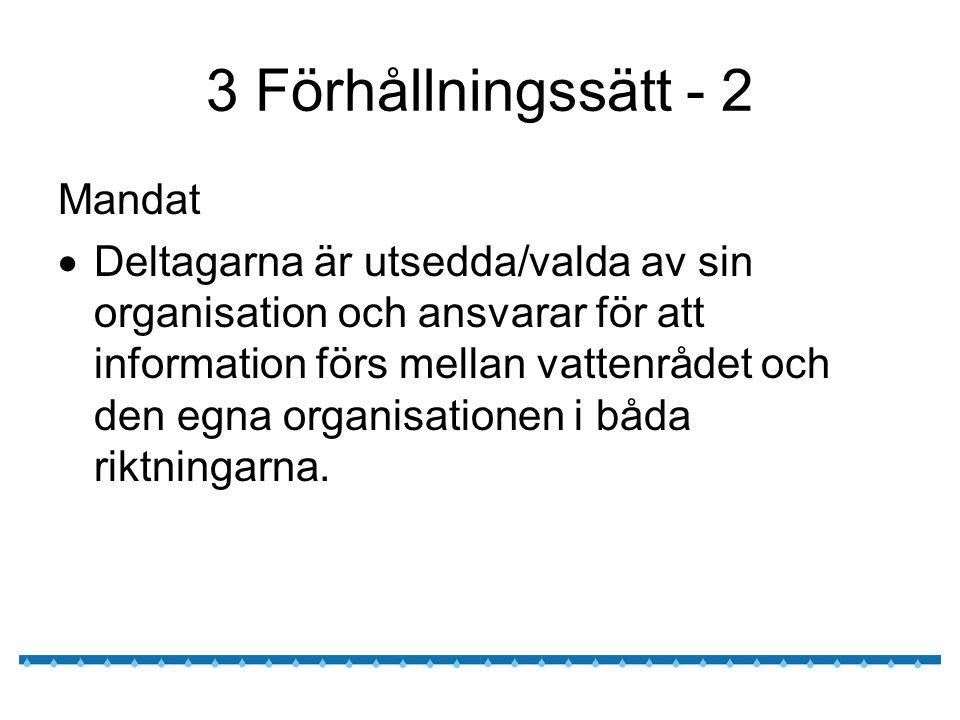 3 Förhållningssätt - 2 Mandat  Deltagarna är utsedda/valda av sin organisation och ansvarar för att information förs mellan vattenrådet och den egna organisationen i båda riktningarna.