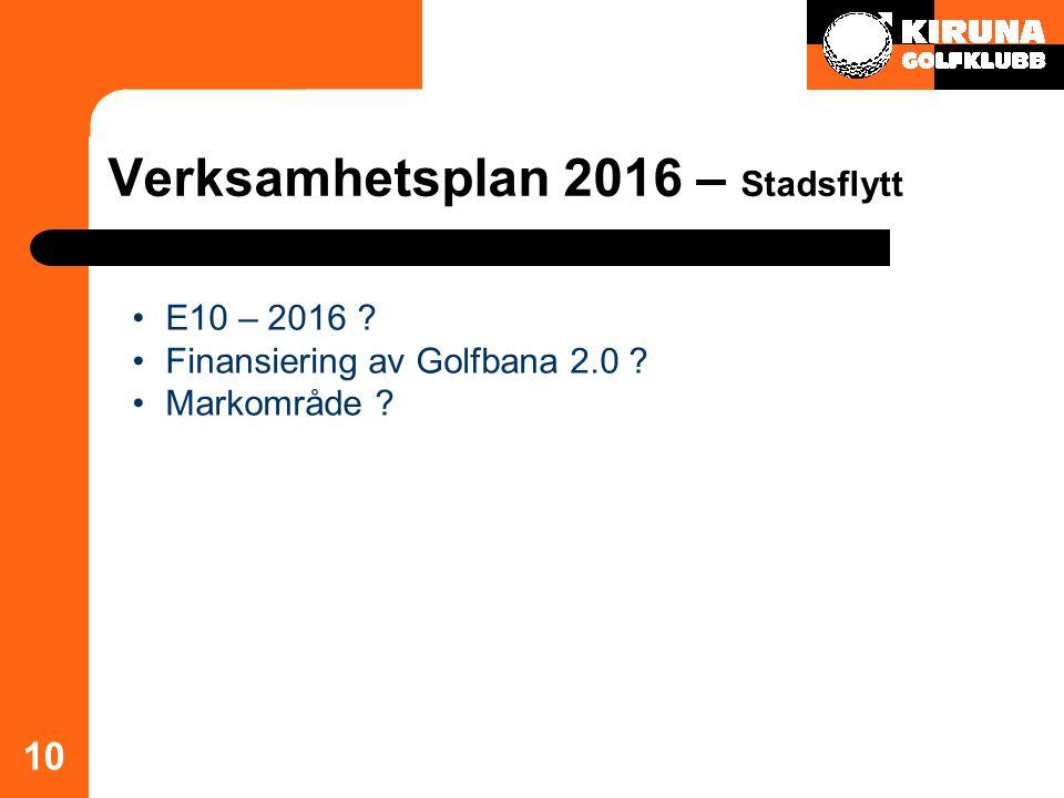Verksamhetsplan 2016 – Stadsflytt 10 E10 – 2016 ? Finansiering av Golfbana 2.0 ? Markområde ?