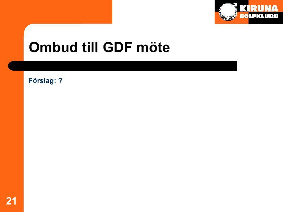Ombud till GDF möte 21 Förslag: ?