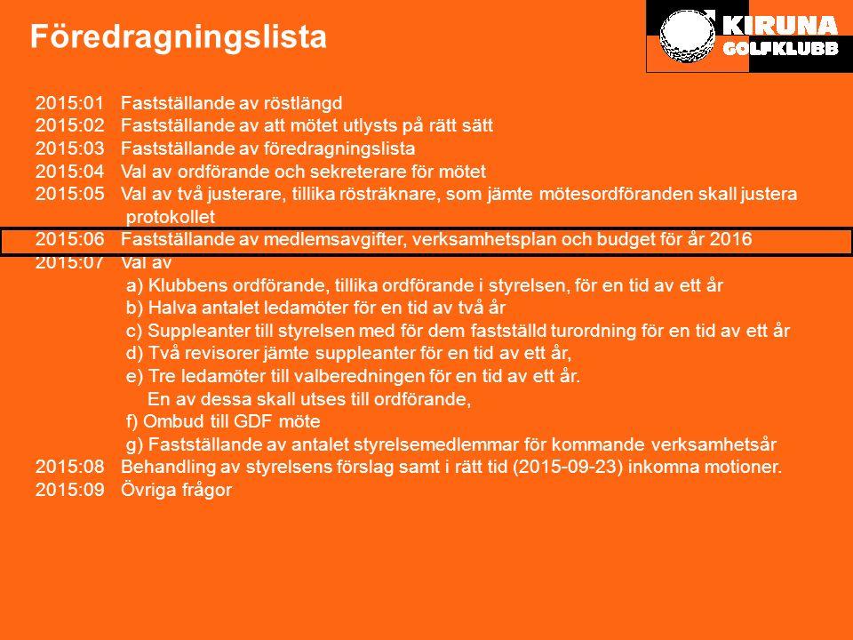 Preliminär verksamhetsplan 2016 9 Stadsflytt Bana & Range & Övningsområde Medlem & klubbhus Tävling Junior Marknad