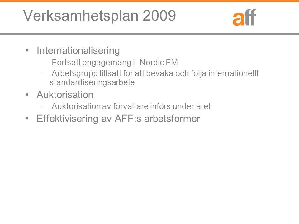 Verksamhetsplan 2009 Internationalisering – Fortsatt engagemang i Nordic FM – Arbetsgrupp tillsatt för att bevaka och följa internationellt standardiseringsarbete Auktorisation – Auktorisation av förvaltare införs under året Effektivisering av AFF:s arbetsformer