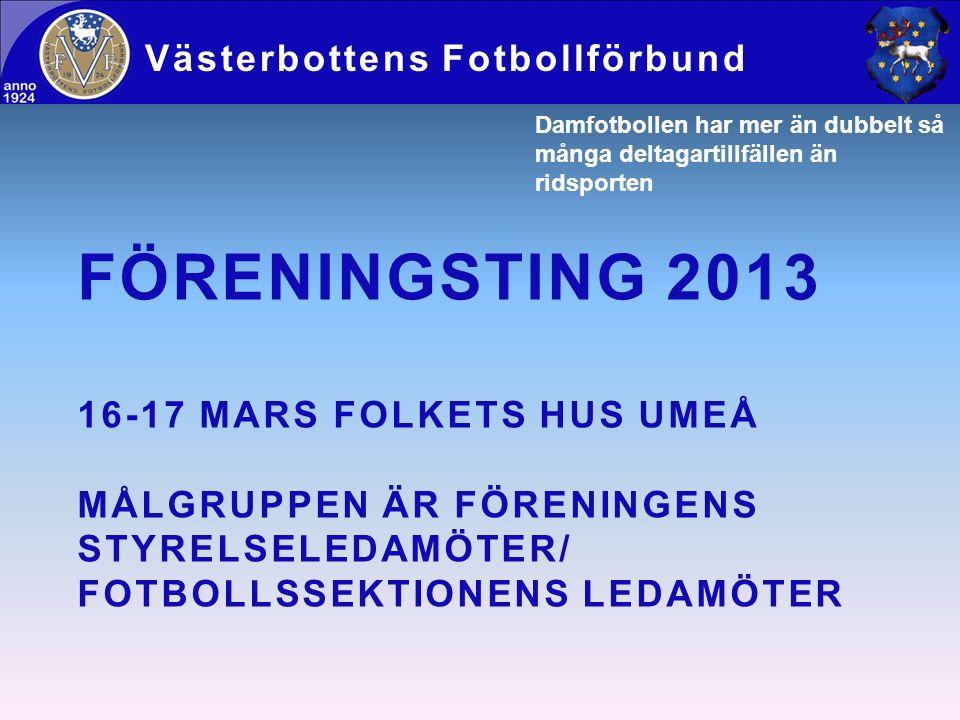 FÖRENINGSTING 2013 16-17 MARS FOLKETS HUS UMEÅ MÅLGRUPPEN ÄR FÖRENINGENS STYRELSELEDAMÖTER/ FOTBOLLSSEKTIONENS LEDAMÖTER Västerbottens Fotbollförbund