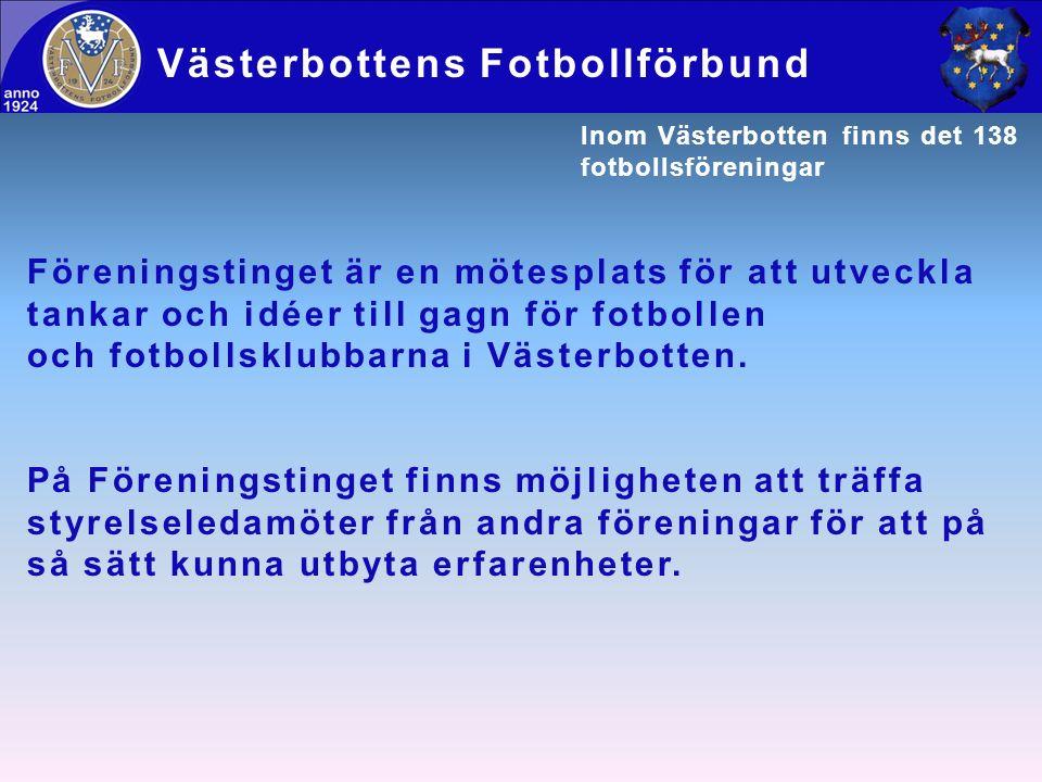Föreningstinget är en mötesplats för att utveckla tankar och idéer till gagn för fotbollen och fotbollsklubbarna i Västerbotten. På Föreningstinget fi