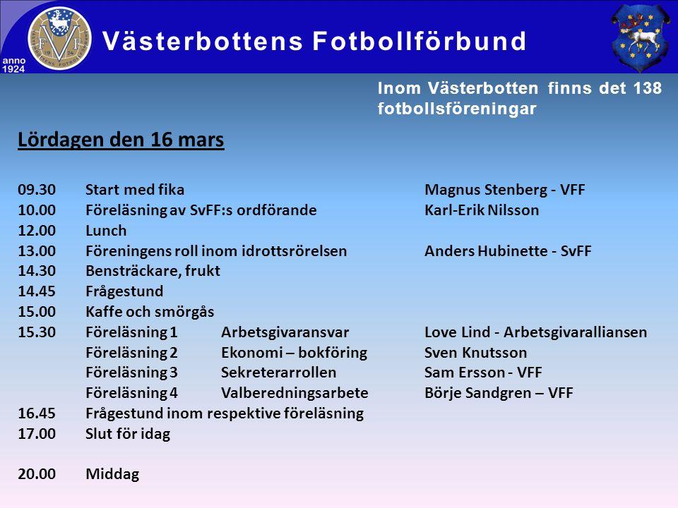 Lördagen den 16 mars 09.30Start med fikaMagnus Stenberg - VFF 10.00Föreläsning av SvFF:s ordförandeKarl-Erik Nilsson 12.00Lunch 13.00Föreningens roll inom idrottsrörelsenAnders Hubinette - SvFF 14.30Bensträckare, frukt 14.45Frågestund 15.00Kaffe och smörgås 15.30Föreläsning 1ArbetsgivaransvarLove Lind - Arbetsgivaralliansen Föreläsning 2Ekonomi – bokföringSven Knutsson Föreläsning 3SekreterarrollenSam Ersson - VFF Föreläsning 4ValberedningsarbeteBörje Sandgren – VFF 16.45Frågestund inom respektive föreläsning 17.00Slut för idag 20.00Middag Västerbottens Fotbollförbund Inom Västerbotten finns det 138 fotbollsföreningar