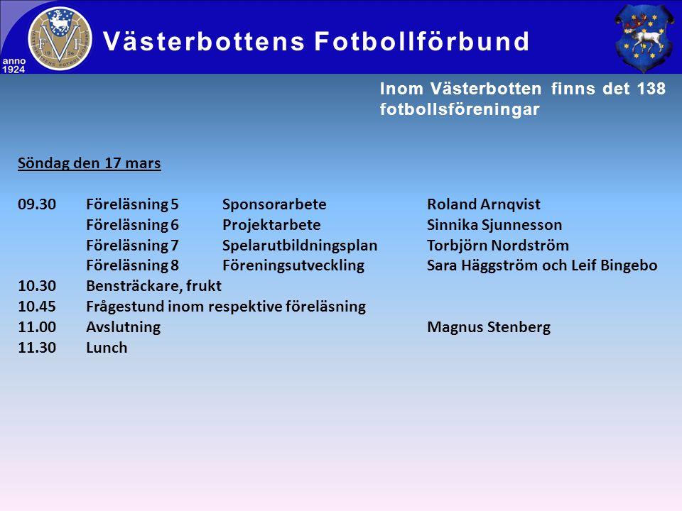 Söndag den 17 mars 09.30Föreläsning 5SponsorarbeteRoland Arnqvist Föreläsning 6ProjektarbeteSinnika Sjunnesson Föreläsning 7SpelarutbildningsplanTorbj