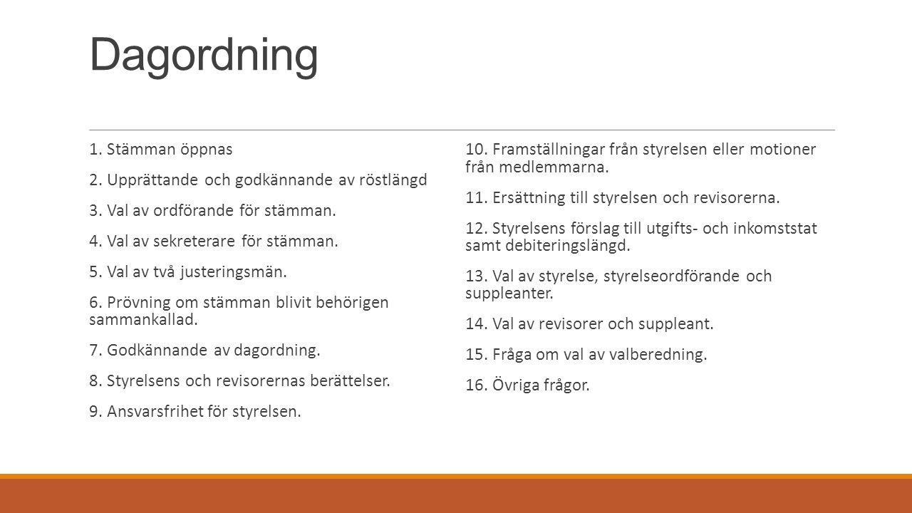 Dagordning 1. Stämman öppnas 2. Upprättande och godkännande av röstlängd 3.