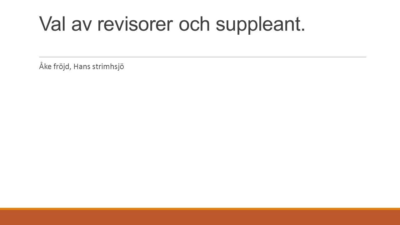 Val av revisorer och suppleant. Åke fröjd, Hans strimhsjö