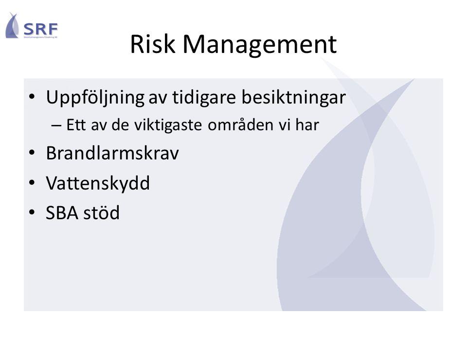Risk Management Uppföljning av tidigare besiktningar – Ett av de viktigaste områden vi har Brandlarmskrav Vattenskydd SBA stöd