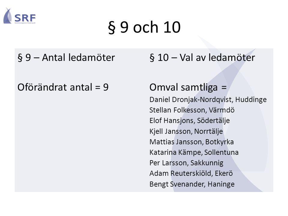 § 9 och 10 § 9 – Antal ledamöter Oförändrat antal = 9 § 10 – Val av ledamöter Omval samtliga = Daniel Dronjak-Nordqvist, Huddinge Stellan Folkesson, V