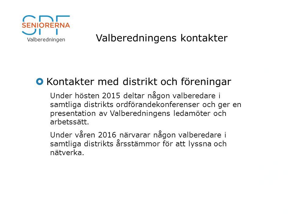 Valberedningen Valberedningens kontakter  Kontakter med distrikt och föreningar Under hösten 2015 deltar någon valberedare i samtliga distrikts ordförandekonferenser och ger en presentation av Valberedningens ledamöter och arbetssätt.