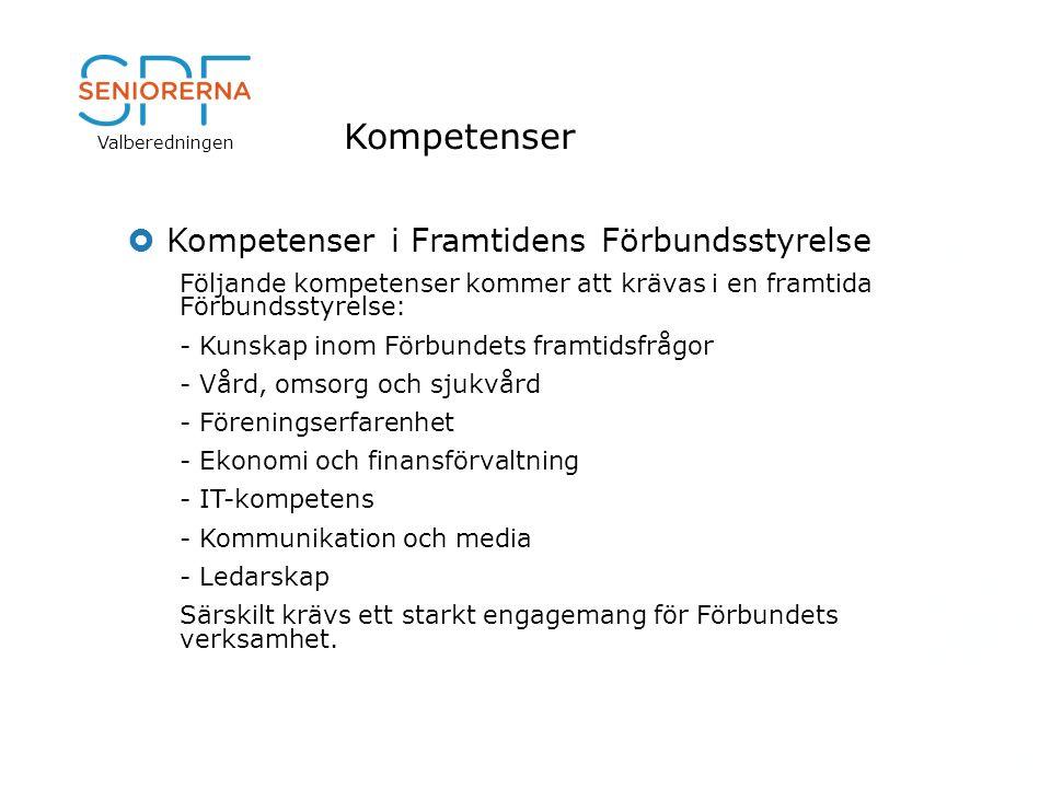 Valberedningen Kompetenser  Kompetenser i Framtidens Förbundsstyrelse Följande kompetenser kommer att krävas i en framtida Förbundsstyrelse: - Kunska