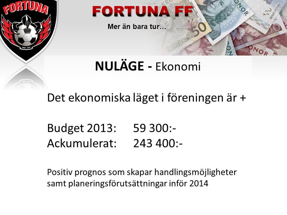 Mer än bara tur… NULÄGE - Ekonomi Det ekonomiska läget i föreningen är + Budget 2013: 59 300:- Ackumulerat:243 400:- Positiv prognos som skapar handli