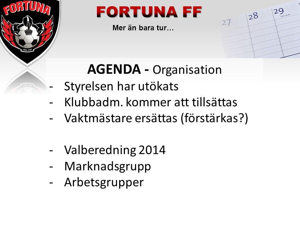 Mer än bara tur… AGENDA - Organisation -Styrelsen har utökats -Klubbadm. kommer att tillsättas -Vaktmästare ersättas (förstärkas?) -Valberedning 2014