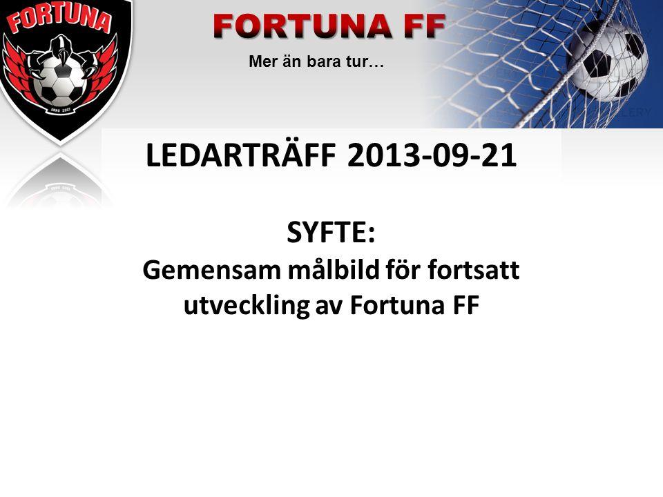 Mer än bara tur… LEDARTRÄFF 2013-09-21 SYFTE: Gemensam målbild för fortsatt utveckling av Fortuna FF