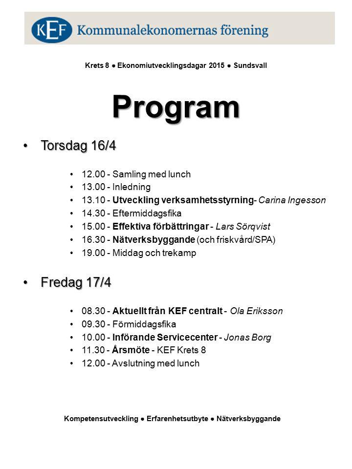 Program Krets 8 ● Ekonomiutvecklingsdagar 2014 ● Bispgården Krets 8 ● Ekonomiutvecklingsdagar 2015 ● Sundsvall Program Torsdag 16/4Torsdag 16/4 12.00 - Samling med lunch 13.00 - Inledning 13.10 - Utveckling verksamhetsstyrning- Carina Ingesson 14.30 - Eftermiddagsfika 15.00 - Effektiva förbättringar - Lars Sörqvist 16.30 - Nätverksbyggande (och friskvård/SPA) 19.00 - Middag och trekamp Fredag 17/4Fredag 17/4 08.30 - Aktuellt från KEF centralt - Ola Eriksson 09.30 - Förmiddagsfika 10.00 - Införande Servicecenter - Jonas Borg 11.30 - Årsmöte - KEF Krets 8 12.00 - Avslutning med lunch Kompetensutveckling ● Erfarenhetsutbyte ● Nätverksbyggande