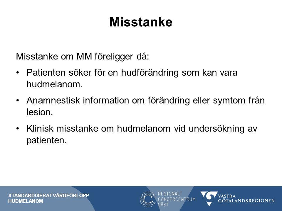 Misstanke Misstanke om MM föreligger då: Patienten söker för en hudförändring som kan vara hudmelanom.