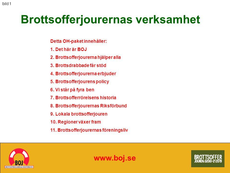 Brottsofferjourernas verksamhet www.boj.se Detta OH-paket innehåller: 1. Det här är BOJ 2. Brottsofferjourerna hjälper alla 3. Brottsdrabbade får stöd
