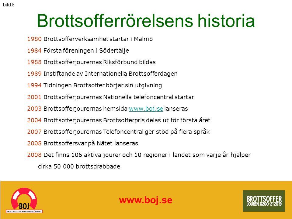 Brottsofferrörelsens historia www.boj.se 1980 Brottsofferverksamhet startar i Malmö 1984 Första föreningen i Södertälje 1988 Brottsofferjourernas Riks