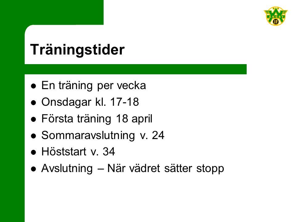 Träningstider En träning per vecka Onsdagar kl. 17-18 Första träning 18 april Sommaravslutning v.