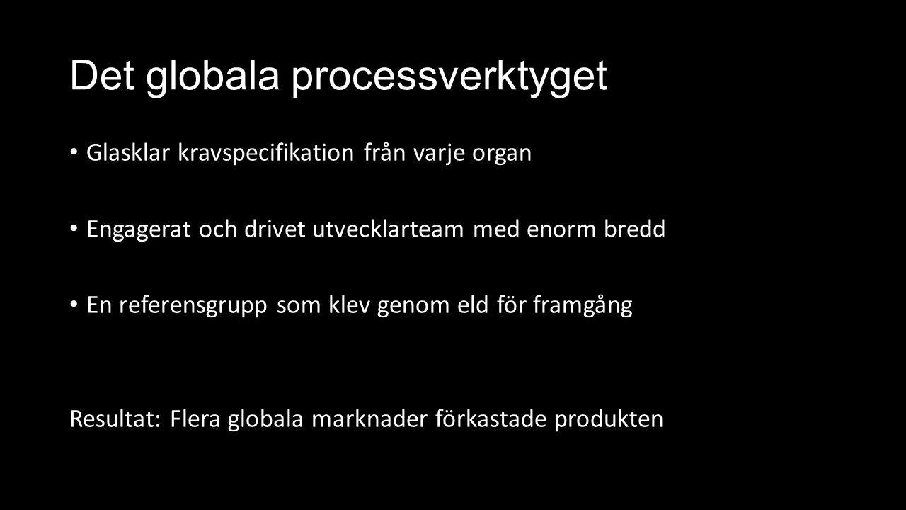 Det globala processverktyget Glasklar kravspecifikation från varje organ Engagerat och drivet utvecklarteam med enorm bredd En referensgrupp som klev genom eld för framgång Resultat: Flera globala marknader förkastade produkten