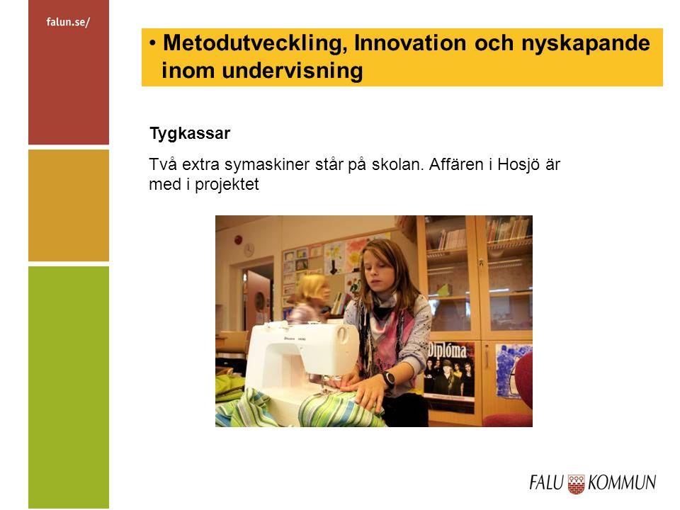 Metodutveckling, Innovation och nyskapande inom undervisning Tygkassar Två extra symaskiner står på skolan.