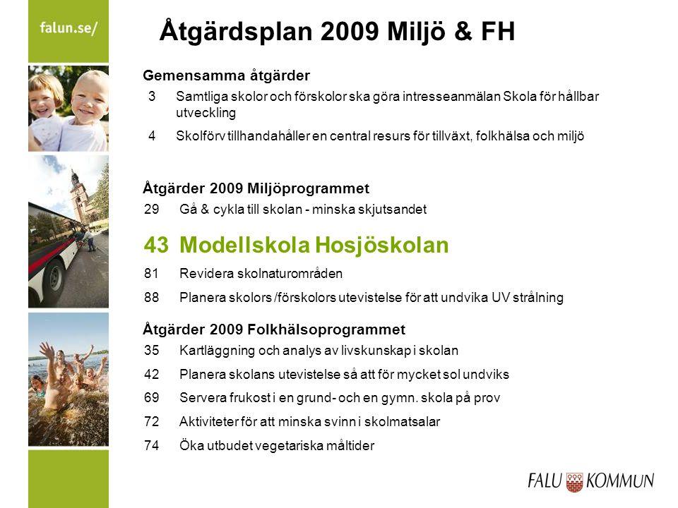 Åtgärdsplan 2009 Miljö & FH 29 Gå & cykla till skolan - minska skjutsandet 43Modellskola Hosjöskolan 81Revidera skolnaturområden 88Planera skolors /fö