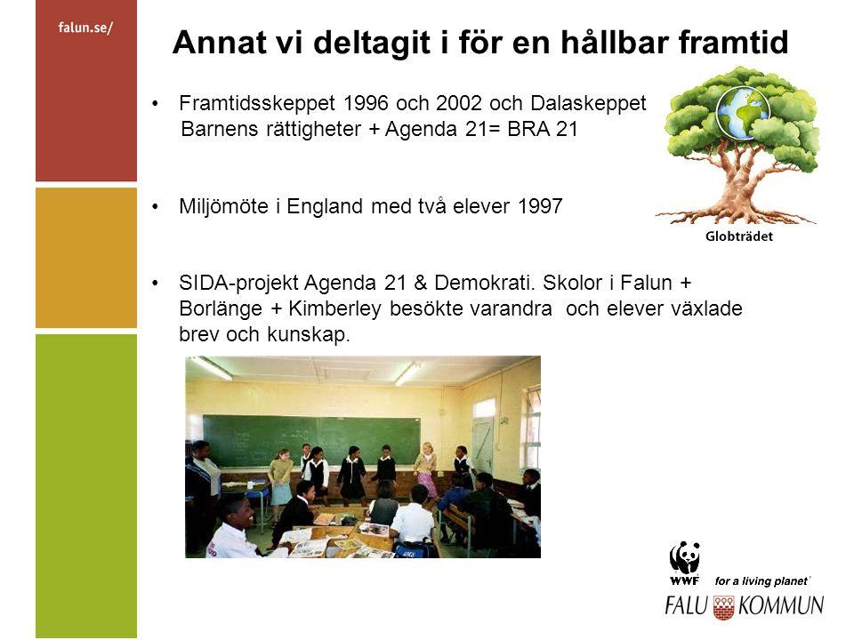 Annat vi deltagit i för en hållbar framtid Framtidsskeppet 1996 och 2002 och Dalaskeppet Barnens rättigheter + Agenda 21= BRA 21 Miljömöte i England med två elever 1997 SIDA-projekt Agenda 21 & Demokrati.