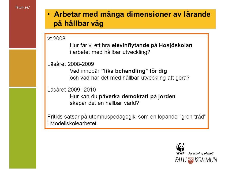 Arbetar med många dimensioner av lärande på hållbar väg vt 2008 Hur får vi ett bra elevinflytande på Hosjöskolan i arbetet med hållbar utveckling.