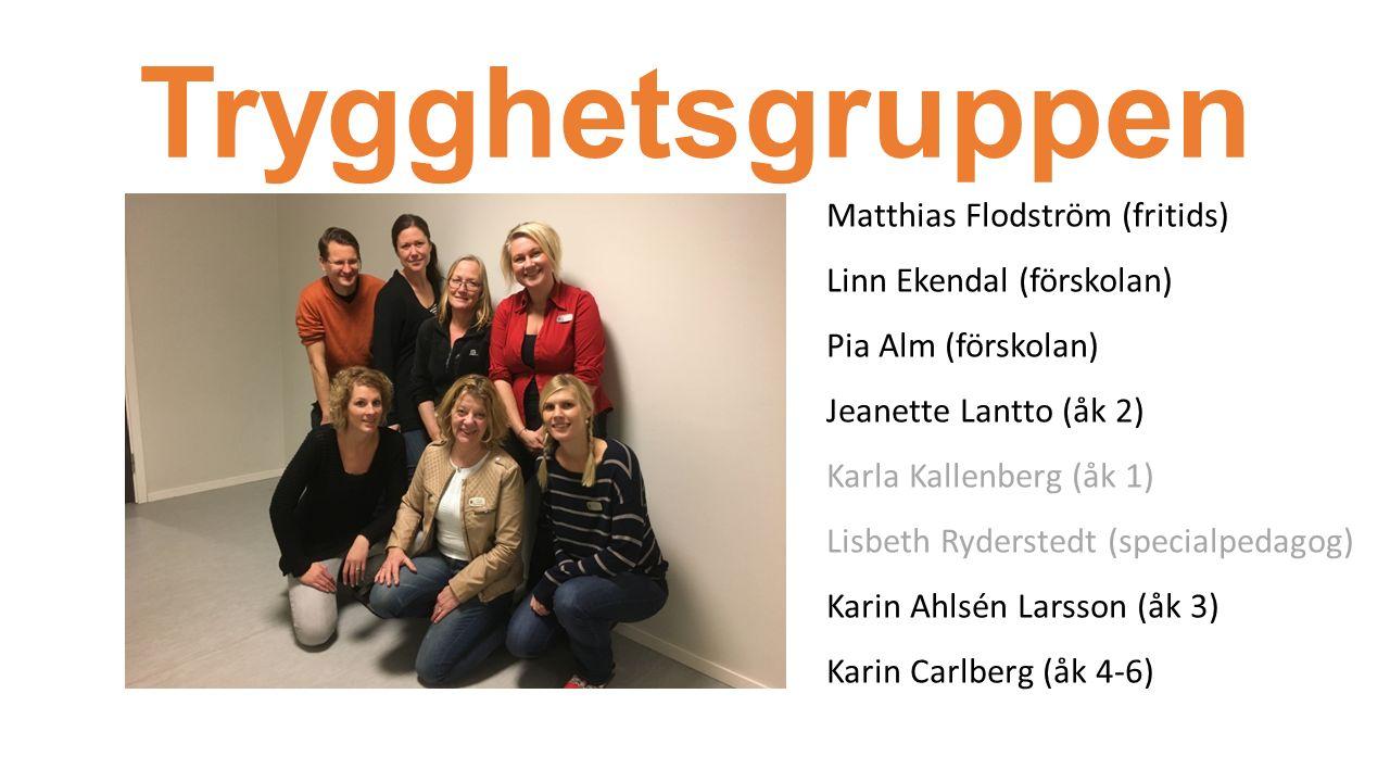 Trygghetsgruppen Matthias Flodström (fritids) Linn Ekendal (förskolan) Pia Alm (förskolan) Jeanette Lantto (åk 2) Karla Kallenberg (åk 1) Lisbeth Ryderstedt (specialpedagog) Karin Ahlsén Larsson (åk 3) Karin Carlberg (åk 4-6)