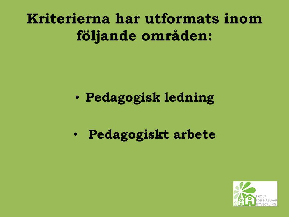 Kriterierna har utformats inom följande områden: Pedagogisk ledning Pedagogiskt arbete