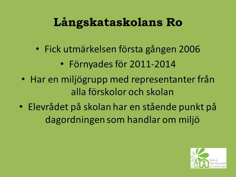Långskataskolans Ro Fick utmärkelsen första gången 2006 Förnyades för 2011-2014 Har en miljögrupp med representanter från alla förskolor och skolan Elevrådet på skolan har en stående punkt på dagordningen som handlar om miljö