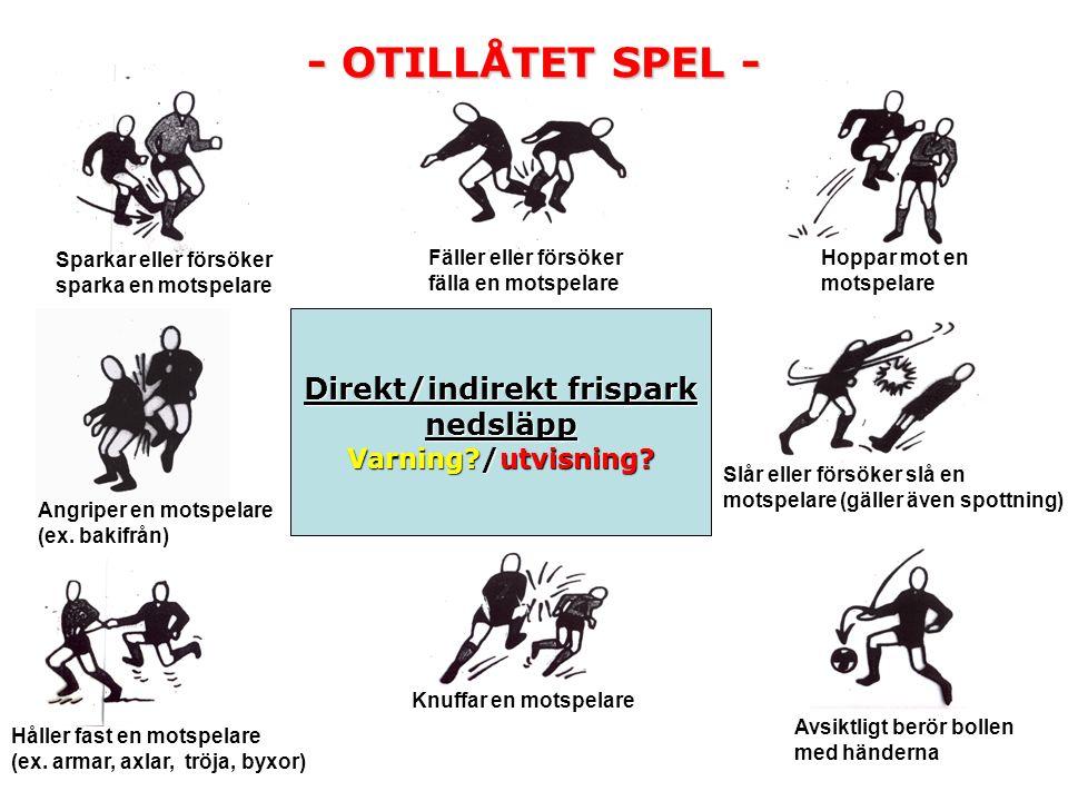 Igångsättandet av spel – Direkt frispark.– Indirekt frispark.