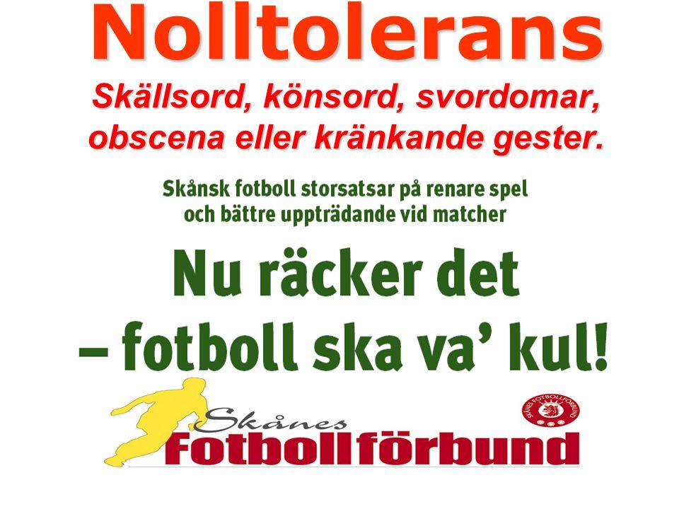 Nolltolerans Skällsord, könsord, svordomar, obscena eller kränkande gester.