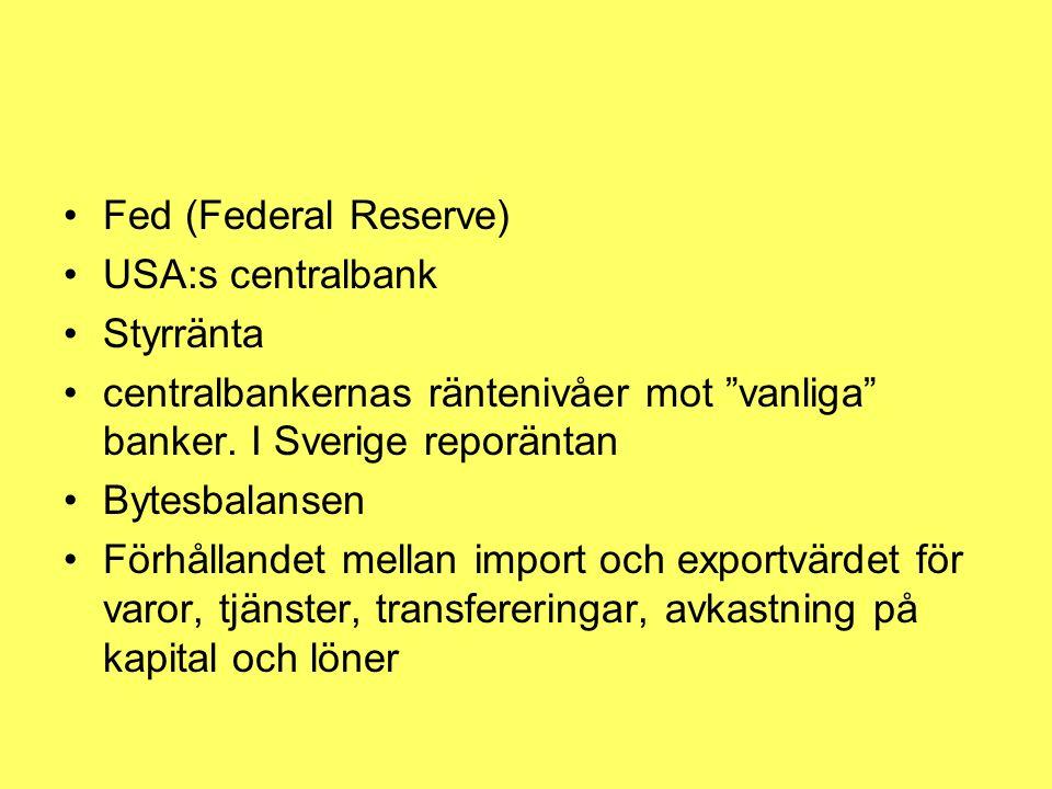 """Fed (Federal Reserve) USA:s centralbank Styrränta centralbankernas räntenivåer mot """"vanliga"""" banker. I Sverige reporäntan Bytesbalansen Förhållandet m"""