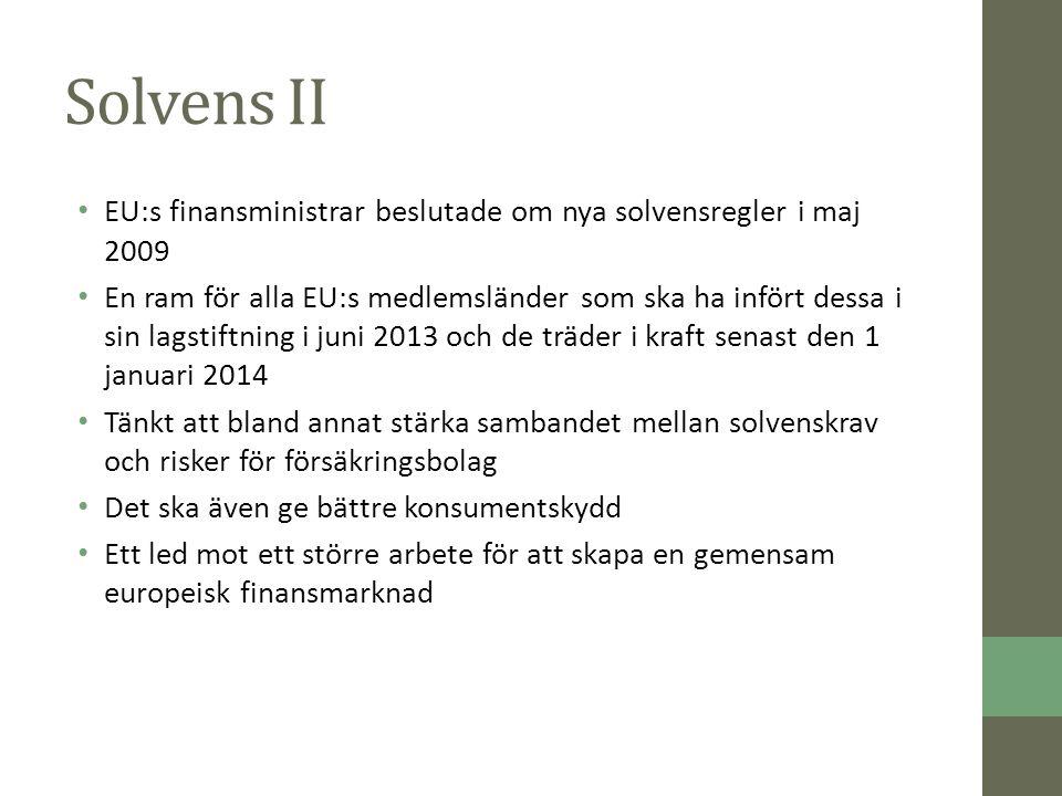Solvens II EU:s finansministrar beslutade om nya solvensregler i maj 2009 En ram för alla EU:s medlemsländer som ska ha infört dessa i sin lagstiftning i juni 2013 och de träder i kraft senast den 1 januari 2014 Tänkt att bland annat stärka sambandet mellan solvenskrav och risker för försäkringsbolag Det ska även ge bättre konsumentskydd Ett led mot ett större arbete för att skapa en gemensam europeisk finansmarknad