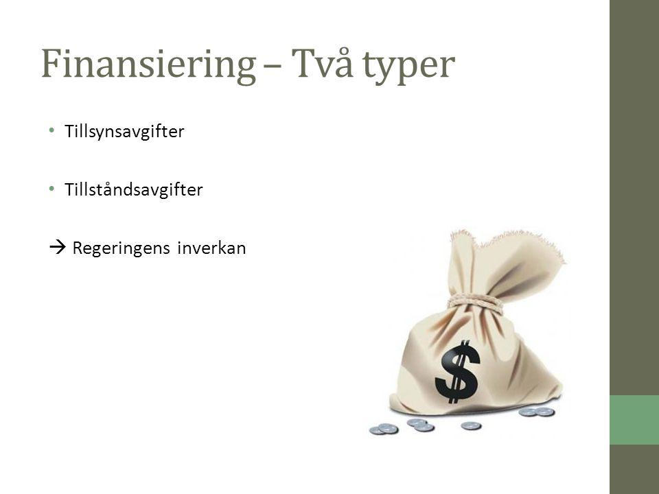 Finansiering – Två typer Tillsynsavgifter Tillståndsavgifter  Regeringens inverkan