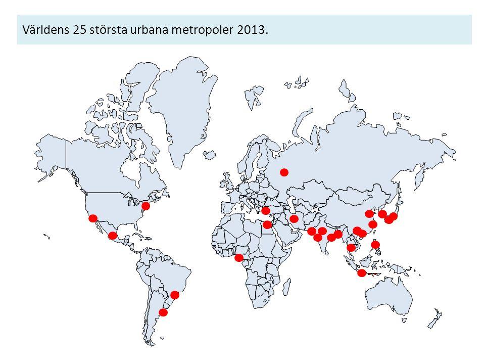 Världens 25 största urbana metropoler 2013.