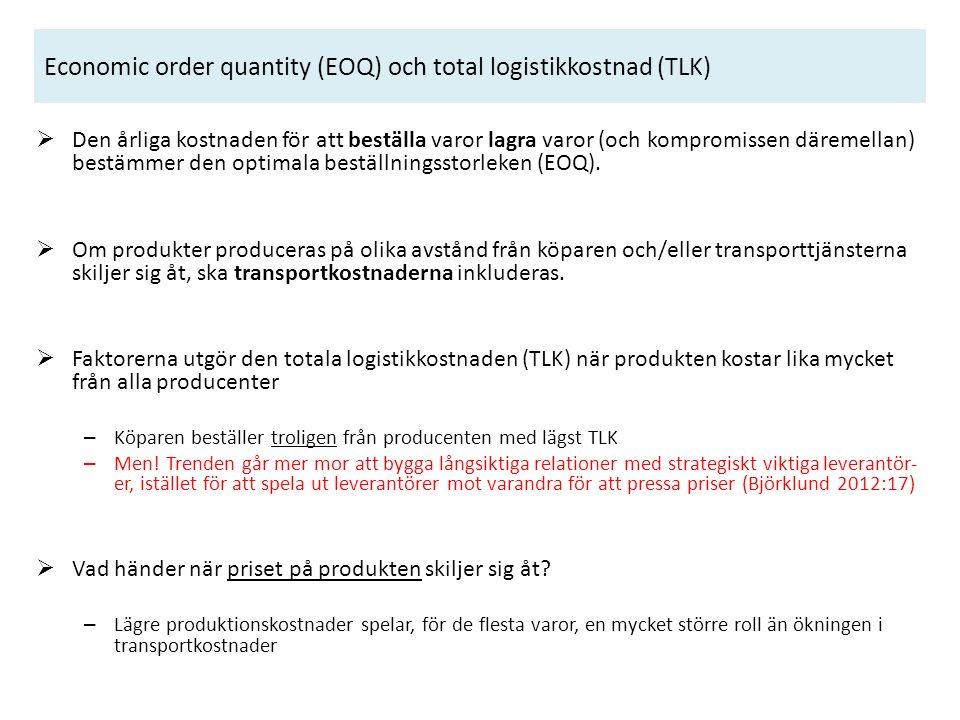 Economic order quantity (EOQ) och total logistikkostnad (TLK)  Den årliga kostnaden för att beställa varor lagra varor (och kompromissen däremellan) bestämmer den optimala beställningsstorleken (EOQ).
