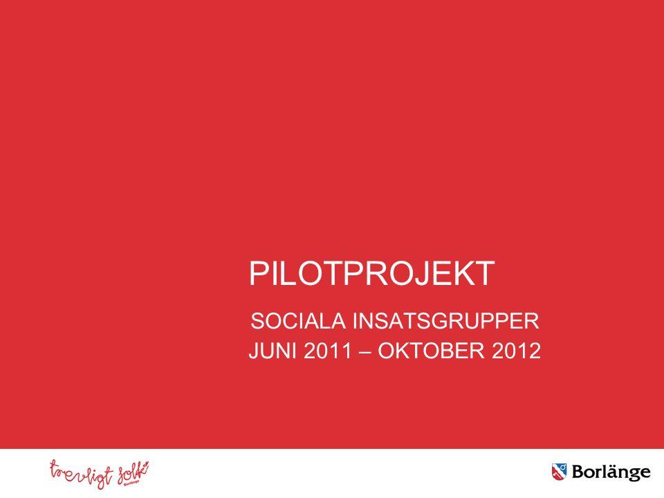 Klicka här för att ändra format PILOTPROJEKT SOCIALA INSATSGRUPPER JUNI 2011 – OKTOBER 2012